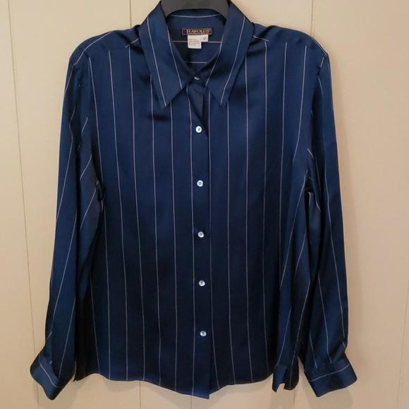 220d328267d84 Harold s Tops - Harold s Blue Silk Blouse Shirt ...
